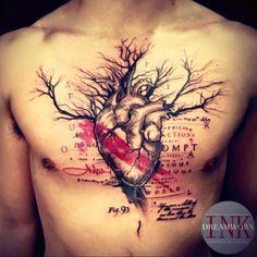 NataliaJ7 | #heart #trashpolka #tree #red #blackandred #writting #chest  | Tattoodo