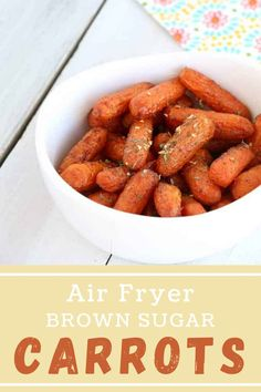Air Fryer Brown Sugar Roasted Carrots are packed with delicious flavors! They are a tasty, easy vegetable side dish that will pair with any meal. #candiedcarrots #airfryercarrots Brown Sugar Roasted Carrots, Candied Carrots, Easy Vegetable Side Dishes, Vegetable Sides, Holiday Recipes, Party Recipes, Incredible Recipes, Barbecue Recipes, Pinterest Recipes