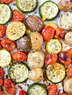 This easy recipe for Roasted Summer Vegetables makes a simple, healthy side dish that makes the most of the fresh, seasonal veggies.