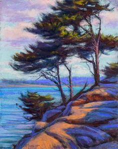 Point Lobos 11x14 Pastel and Los Olivos Quick Draw 2014, painting by artist Joe Mancuso