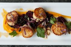 Pan-roasted Sea Scallops, Butternut Squash Puree, Roasted Baby Beets, Swiss Chard, Frisee Salad, and Apple Cider Reduction