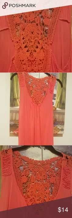 Coral Orange Super Soft Tank with Crochet Detail Forever 21 top in coral. It is a super soft material with crochet detail design on the best. Forever 21 Tops Tank Tops