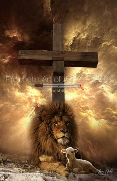 The Lion and the Lamb Cross — Products – Prophetic Art of James Nesbit Lion Images, Lion Pictures, Bible Pictures, Pictures Of Jesus Christ, Religious Pictures, Religious Art, Lion King Art, Lion Art, Christian Warrior