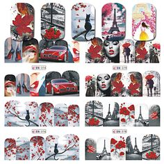 1Sheet Nail Art Water Transfer Sticker Colorful Romantic Design Full Cover Wraps Watermark Tip For Nail Art Decoration BN373-384