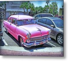 Ford Metal Print featuring the photograph Pink Beauty In The Parking-lot by Hanny Heim, Snowbird Photography #cars #ford #oldtimer #florida