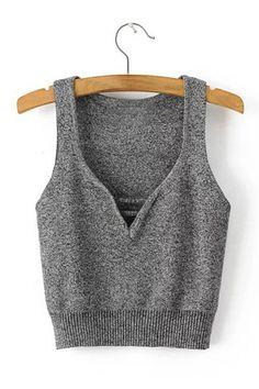 Grey V Neck Sleeveless Lace-up Details Crop Vest