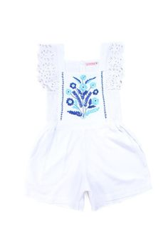 Coco and Ginger Tulip Playsuit, delicate blue embroidery and lace running down the front and lace capped sleeves, Cotton Big Kids Clothes, White Playsuit, Batik Prints, Hand Stitching, Cap Sleeves, White Shorts, Girl Outfits, Rompers, Cotton
