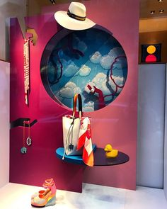 """HERMES, """"After the Rain comes Sunshine"""", Virginia di Carpegna, pinned by Ton van der Veer Fashion Window Display, Window Display Retail, Fashion Displays, Display Design, Store Design, Hermes Window, Modern Vintage Decor, Architecture Visualization, Milan Italy"""