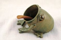 Fun For the Kitchen by Chris Burgan on Etsy  check out this great collection of fun things for the kitchen.  I have a new salt pig, well frog that was included in it.  Have a look up close here: http://www.etsy.com/listing/160272801/ceramic-salt-frog-with-spoon-green-wheel