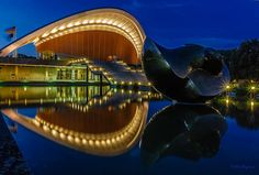"ღღ Berlin -  Oyster in Blue by  Nelofee ~~~ Description by the Artist:The ""Oyster"" (Conventioncenter, House of the cultures of the world) is one of the most popular sights in Berlin"