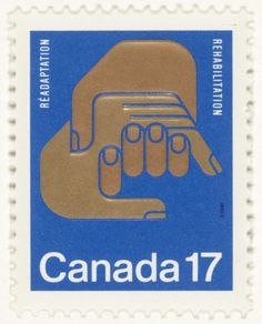 "Rolf Harder, Design Collaborative Montreal Ltd.. Rehabilitation Stamp. 1977. Lithograph on self-adhesive paper. 1 1/4 x 1"" (3.2 x 2.5 cm). Ashton-Potter Limited, Toronto. Gift of the designer. 412.2007. © 2016 Rolf Harder. Architecture and Design"