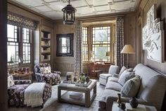 Hampton's shingle home-interior designer Steven Gambrel. In the library, antiqued oak walls are paired with a plaster ceiling overlaid with a Chinoiserie ...