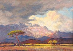 "igormaglica: "" Jacobus Hendrik Pierneef Rainclouds and Sunshine, South West Africa, oil on canvas, 39 x cm "" Landscape Quilts, Landscape Art, South Africa Art, West Africa, African Paintings, Oil Paintings, Cityscape Art, South African Artists, Inspirational Artwork"