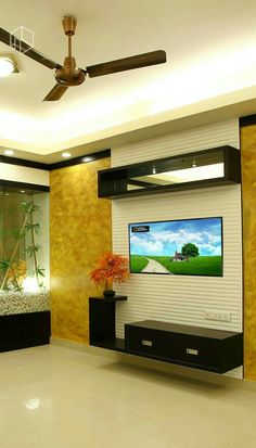 Hasil gambar untuk interior design for tv wall Tv Wall, Wall Mounted Tv Unit, Room Design, Wall Mounted Tv, Tv Unit Design, Pinterest Living Room, Showcase Design, Wall Design, Living Room Tv