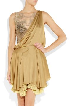 Silk / lace asymmetrical shoulder dress