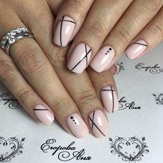 Geometric nail art designs look beautiful and chic on short and long nails. Geometric patterns in any fashion field are the style that fashionistas dream of. This pattern has been popular in nail art for a long time, because it is easy to create in n Manicure Nail Designs, Pink Nail Designs, Short Nail Designs, Simple Nail Designs, Diy Manicure, Manicure Ideas, Nail Polish, Gel Nails, Acrylic Nails