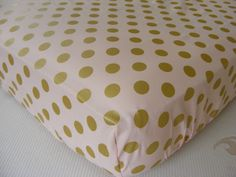 Fitted Crib Nursery Sheet / Baby Bedding (with options) in Baby Pink Gold Pearl Mist Dots Designer Fabric by ThePincushionStore on Etsy https://www.etsy.com/listing/193093801/fitted-crib-nursery-sheet-baby-bedding
