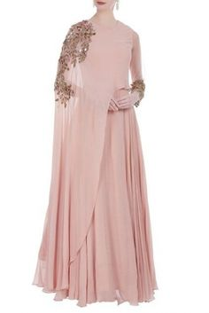 Buy Cape coin embroidered gown by Bhumika Sharma at Aza Fashions Hijab Evening Dress, Evening Dresses, Indian Designer Outfits, Designer Dresses, Mulher Versus Moda, Abaya Fashion, Fashion Dresses, Indian Gowns Dresses, Mode Simple