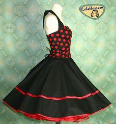 50's vintage dress full skirt white in red by Lolablossomclothing, $119.00