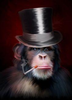 Smoking Monkey Art 2 by James Cattlett Cig Monkey by GraphicStuff