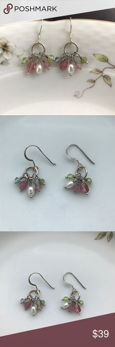 Semi Precious Delicate Earrings NWOT Multi Tourmaline and Fresh Water Pearl Earrings Sterling Silver and are handmade Jewelry Earrings