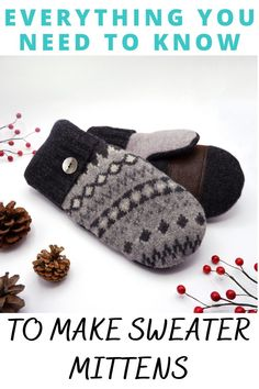 Sweater Mittens, Wool Sweaters, Sewing Tutorials, Sewing Ideas, Knit Patterns, Sewing Patterns, Upcycled Sweater, Sewing Basics, Sell On Etsy