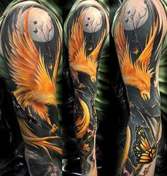 no negative space. so much blck and colour, i wonder how the fade issue will hold up. stunning tattoo though.