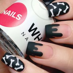 "Nadia Alicia on Instagram: ""Negative space drip nail x cute little bones vinyls by @whatsupnails whatsupnails.com"