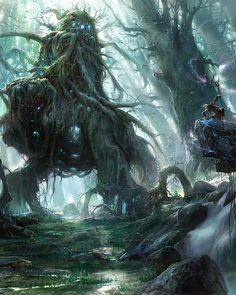 Exceptional Concept Art By Noah-kh, Fantasy creatures Forest Creatures, Fantasy Creatures, Mythical Creatures, Fantasy Artwork, Sci Fi Fantasy, Fantasy World, High Fantasy, Dungeons And Dragons, Cthulhu