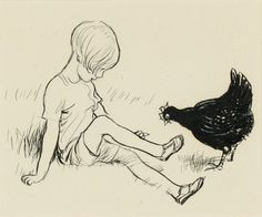 Shepard, The Little Black Hen. Pen and ink drawing done for A. Milne's Now We Are Six Estimated to go at auction for Photo: Sotheby's. Art And Illustration, Book Illustrations, Eh Shepard, Now We Are Six, Winnie The Pooh Quotes, English Artists, First Art, New Art, Drawings