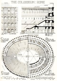 the Colosseum plan & section Romanesque Architecture, Classical Architecture, Historical Architecture, Ancient Architecture, Define Architecture, Architecture Concept Drawings, Modern Architecture Design, Ancient Rome, Ancient History
