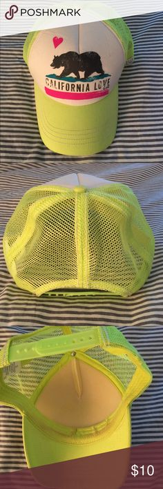 "California Baseball Cap Lime green with ""California Love"" printed on the front. In great condition. Only worn a handful of times. A little makeup on the inside of the brim. So fun for summer! Billabong Accessories Hats"