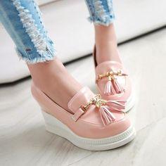 f400d8642fb Korean Tassels Slip On Round Toe Platform Wedge Heel Womens Pumps Date  Shoes Hot
