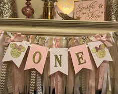 Fiesta de cumpleaños de Minnie Mouse Pink & Gold - Banner alta de Minnie Mouse - Minnie Mouse 1er cumpleaños rosa y oro