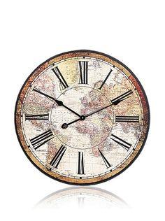 World Map Wall Clock $22 sale [$44 regular] [nomnomnom yes please]