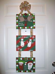 Christmas Handprint Footprint Canvas Craft 1
