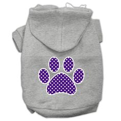 Purple Swiss Dot Paw Screen Print Pet Hoodies Grey Size Lg (14)