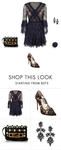"""Untitled #21169"" by explorer-14576312872 ❤ liked on Polyvore featuring self-portrait, Christian Louboutin, Fendi, Fallon and Marco Bicego"