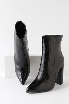 The Lulus Karin Black Crocodile Embossed Two-Tone High Heel Booties are the real deal when it comes to fierce footwear! Two-tone booties with pointed toes. Black Ankle Boots, Black Booties, Ankle Highs, Crocodile, Vegan Leather, All Black, Block Heels, High Heels, Footwear