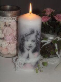 Dekorerte lys med Sagen servietter ♥