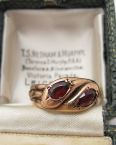 Victorian English 9K Gold Double-Headed Snake Ring w/ Garnets