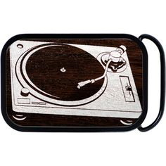 Real wood record player belt buckle is perfect for keeping up those slacks of yours.