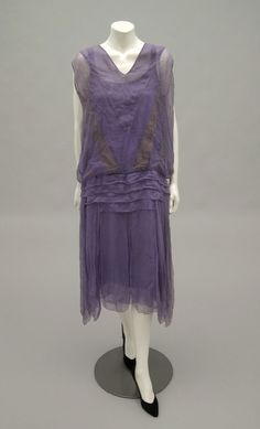 Woman's Dress Designed by Barbara Lee Geography: Made in United States, North and Central America Date: c. 1925 Medium: Pale purple silk georgette Accession Number: 1973-110-8