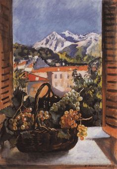 Zinaida Serebriakova, Basket with grapes on the window, 1931