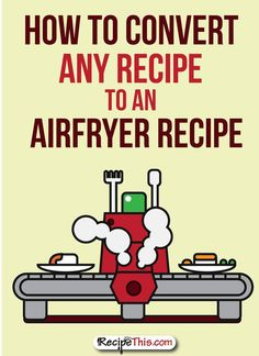 Simple chart for converting regular recipes to Airfryer recipes.