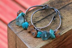 Rustic Hessonite Heshi Turquoise and Acqua Fluorite by Tribalis, $37.00