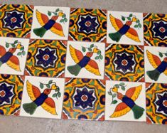 12 Mexican Talavera Tiles. Hand made-Hand painted 4 X