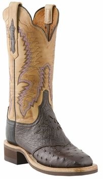 *NEW* Womens Lucchese Since 1883 Nicotine Pin Ostrich with Diego Inlay Saddle Vamp C2404