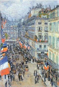 HAPPY BASTILLE DAY!  14th of July, 1910 - Rue Daunou, Paris   F. Childe Hassam, American Impressionist