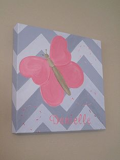 Butterfly Canvas Art, Chevron Background, Personalized, Custom, 12x12, Any color! Painted on a Heavy Duty gallery wrapped canvas.